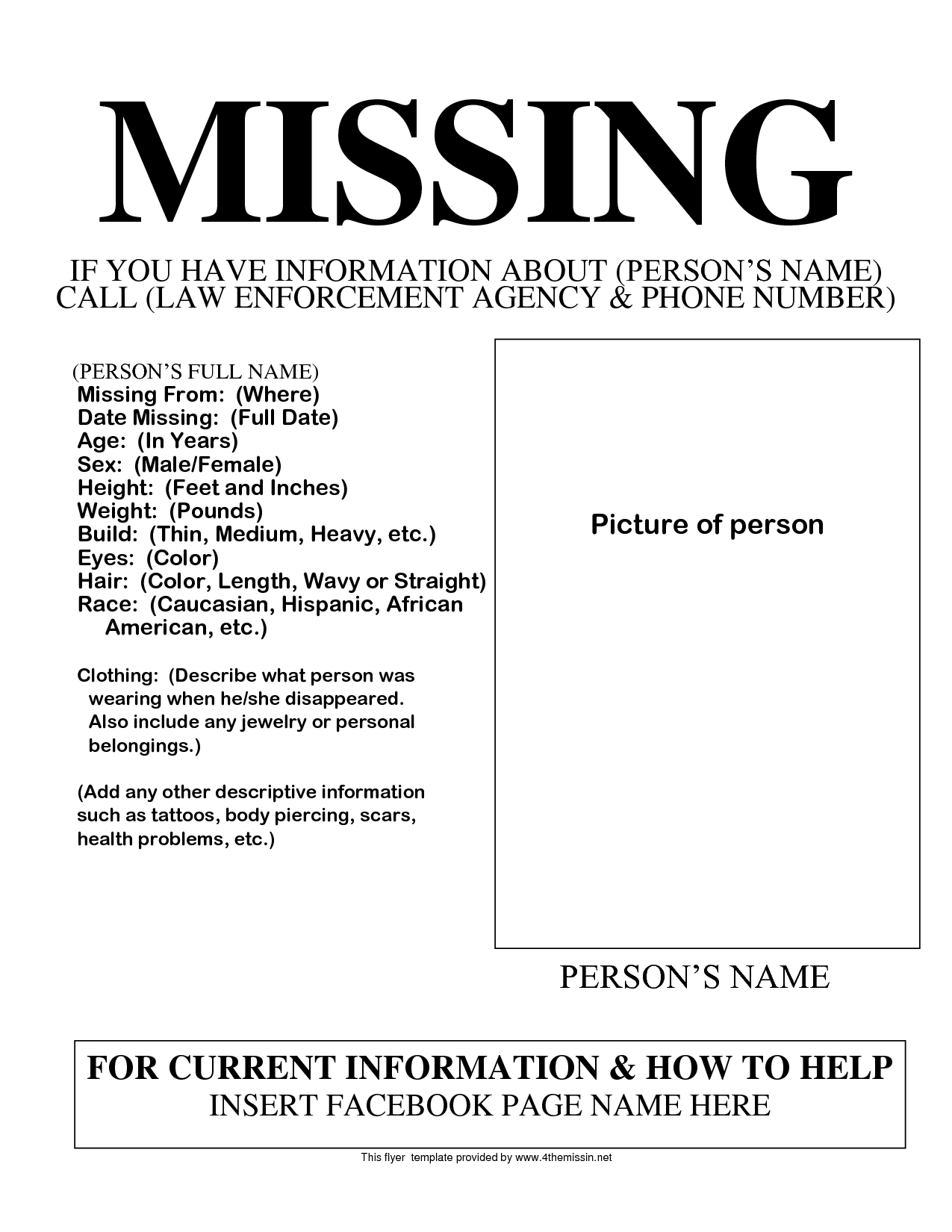 Missing Persons Template Free Flyers Missing People Help – Missing Posters Template