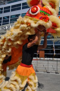 Brandon Louie performs Lion Dance