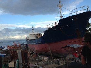 Huge Cargo ship washed up in Tacloban