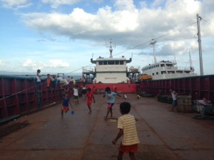 Children in the Barangay have turned the ship into a playground area
