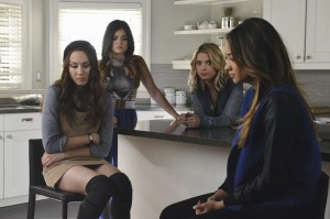 "PRETTY LITTLE LIARS - ""Run, Ali, Run"" - Alison is spooked after the most recent Rosewood ""accident"" and wonders if she should have come back after all in ""Run, Ali, Run,"" an all-new episode of ABC Family's hit original series ""Pretty Little Liars,"" premiering Tuesday, July 15th (8:00 - 9:00 PM ET/PT). (ABC FAMILY/Eric McCandless) TROIAN BELLISARIO, LUCY HALE, ASHLEY BENSON, SHAY MITCHELL"