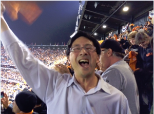 AsAmNews editor celebrates Travis Ishikawa walk-off home run to win the National League Pennant