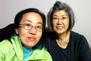 Alice Wong (left) with her mom, Bobby Hiuwan Wong, at StoryCorps San Francisco on February