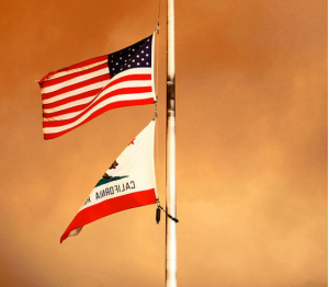 California & US Flags