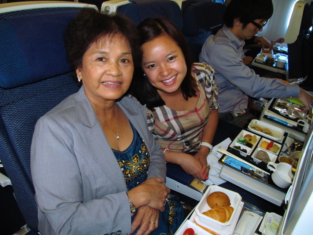 Chinh Doan with her mother on the plane ride to America