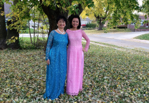 Chinh & Mom in Vietnamese Dresses