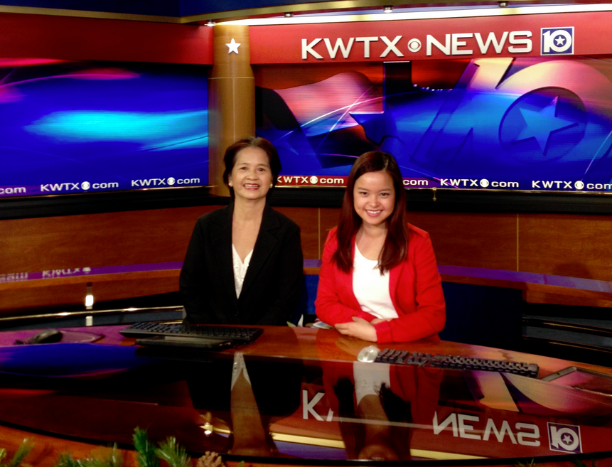 Chinh & Mom on news set in Texas