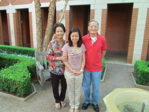 Chinh Doan with mom and dad in America