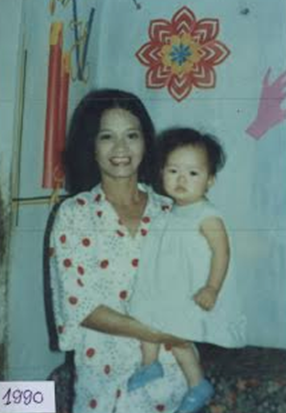 Chinh Doan with mom in 1990