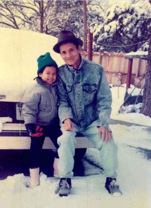 Chinh Doan with dad in snow in Oklahoma City