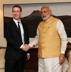 Narendra Modi with Mark Zuckenberg