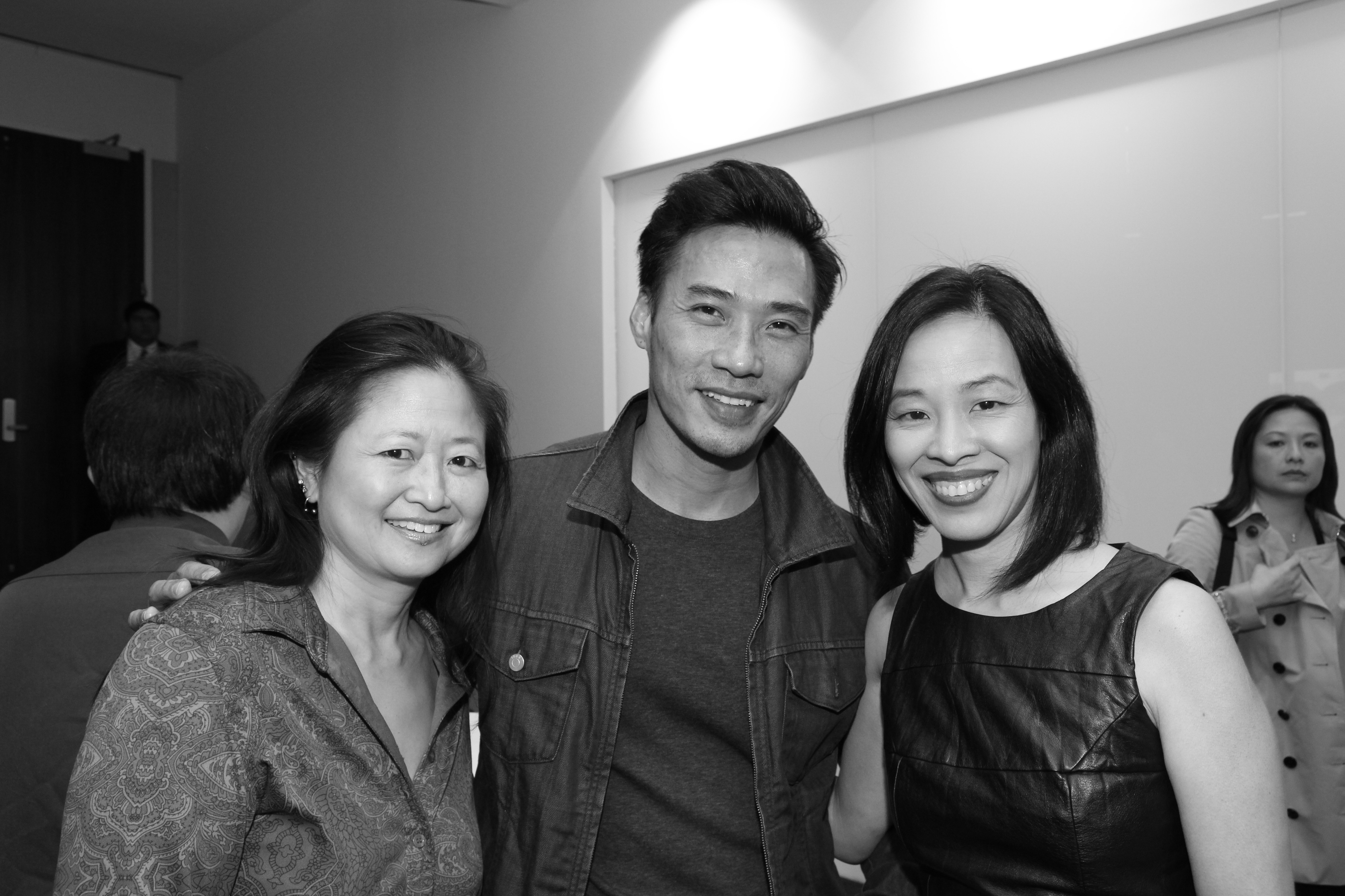 72 Hour Shootout winners Toy Lei (BOXER), Grant Chang (FINDING YOU) and Lia Chang (HIDE AND SEEK) attend a special screening of 72 Hour Shootout films at the Time Warner Theater in New York on October 7, 2015. Photo by GK