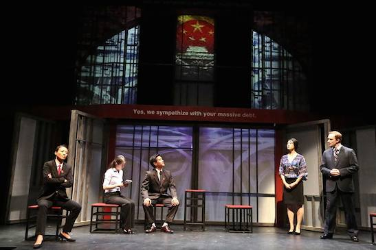 (L-R) Leann Lei as Prosecutor Li, Joy Yao as translator Zhao, Ewan Chung as Judge Xu Geming, Kara Wang s Vice Minister Xi Yan, and Matthew Jaeger as Daniel Cavanaugh in East West Players production of David Henry Hwang's Chinglish. Photo by Michael Lamont