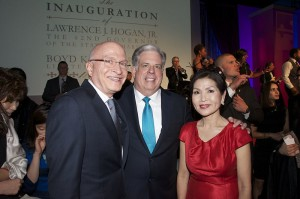 Gov Larry Hogan with wife Yumi and supporter