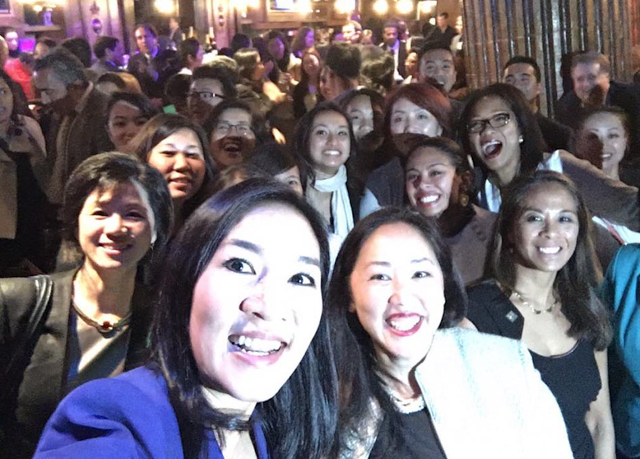 Michelle Kwan with Hillary Clinton Supporters