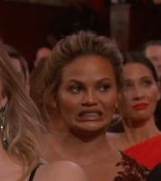 Tiegen, Chrissy Teigen reacts at Oscars