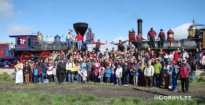 The 146th anniversary of the completion of the Transcontinental Railroad in Ogden, Utah with Chinese Americans and descendants of the Chinese railroad workers. Photo by Corky Lee, 2015.