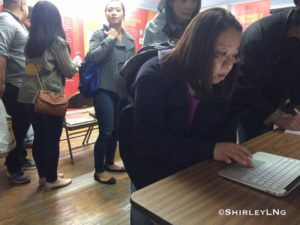 A line forms to sign the online petition for a formal apology from The White House for The Chinese Exclusion Act.
