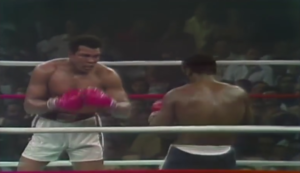 Muhammed Ali v Joe Frazier in the Thrilla in Manila in 1975