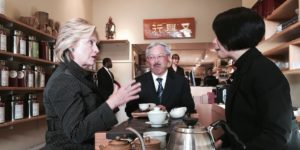 Hillary Clinton with San Francisco Mayor Ed Lee
