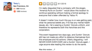 Angry man posted up negative reviews on Yelp of the Forest Hills Queens Dunkin Donuts racist incident.