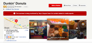 "Yelp Review page of the Forest Hills, Queens Dunkin Donuts is mysteriously in ""Active Clean-Up Alert on the evening of 6/1/16."