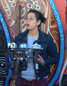 Annette Wong, Chinese for Affirmative Action Director of Programs, speaks at a DACA press conference.