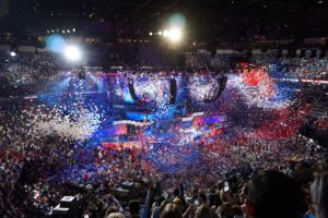 Balloons drop to celebrate Hillary Clinton's nomination for President of the United States