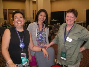 The Heritage Series video team at the DNC. L to R: Samantha Cheng, Shirley N. Lew, Anastasia Walsh.