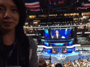 My selfie with President Obama behind me on the convention floor as he speaks.