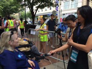 Samantha and I interview a disable delegate and shares how displeased she is with Trump for mocking the disabled.