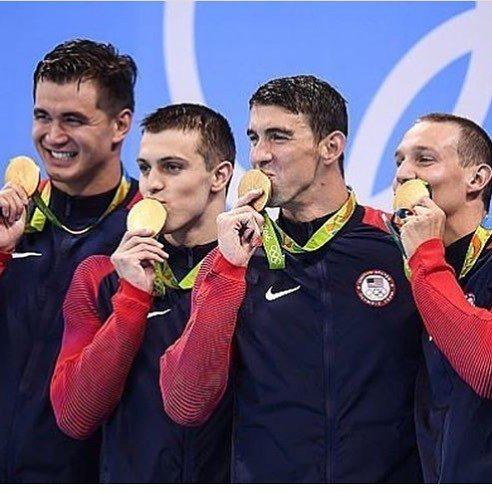 Nathan Adrian and the gold medal winning 4 x 100 freestyle relay team