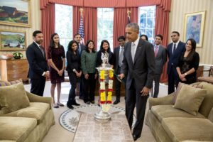 President Obama celebrates Diwali by lighting diya