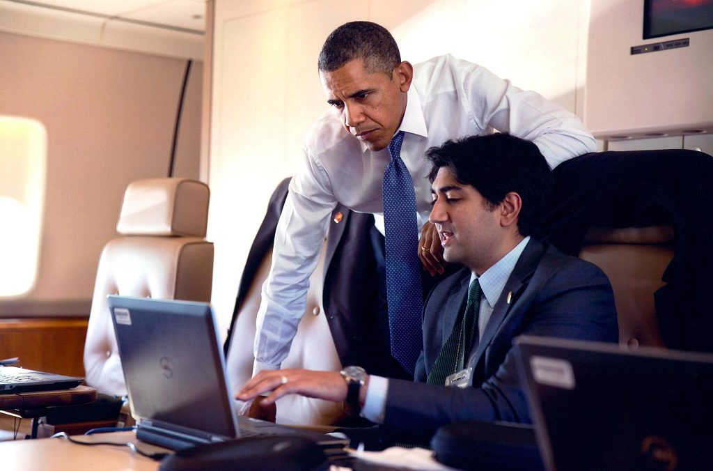 Aneesh Raman on Air Force One with the Commander-in-Chief