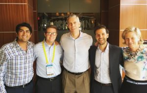 Aneesh Raman with founders of Raise.me and Secretary of Education Arne Duncan (center)
