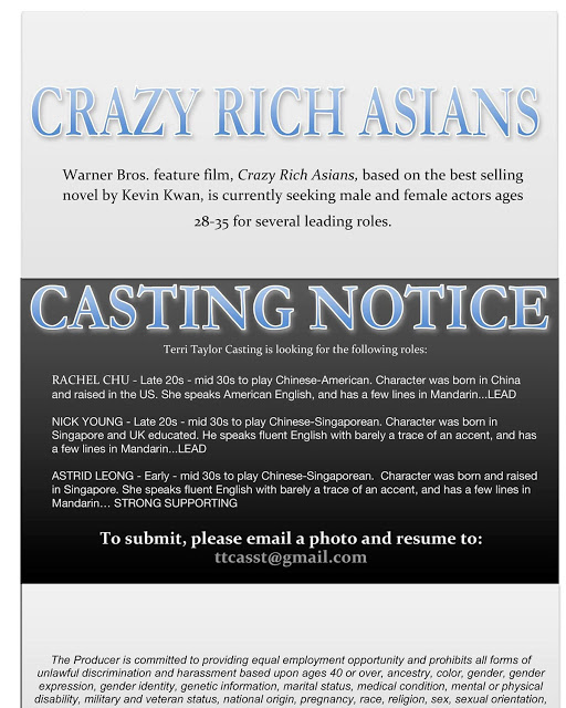 Crazy Rich Asians Casting Call